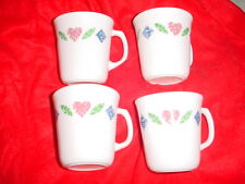 CORELLE QUILT GLASS COFFEE CUPS OR MUGS SET OF 4 FREE USA SHIPPING