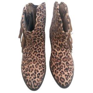 Ariat Leopard Print Fringe Women's Ankle Boots Size 5