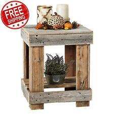 Rustic End Table Reclaimed Wood Sofa Side Stand Shelves Living Room Furniture