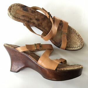 Enzo Angiolini Brown Leather Wooden Wedge High Heel Sandals Size 8 1/2 M Strappy
