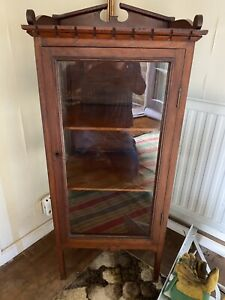 Antique Glass Display Cabinet Locking With Key Plank Top (damaged))