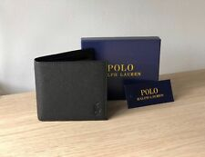 Ralph Lauren Polo Men's Black Leather Wallet, Bi-Fold w/ Coin Compartment