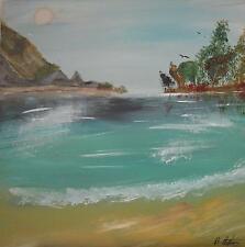 Brett Stephens Watercolour /Bodycolour A Beach in Tropical Sun Lnds c1990s