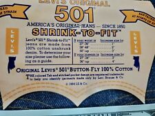 Vintage 80's Levis 501 Shrink to Fit Denim Jean 35 x 32 Made In USA -New 1984