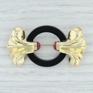 Lagos Onyx & Pink Tourmaline Brooch 18k Yellow Gold 750 Ornate Statement