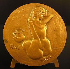 Médaille au poète Paul Verlaine Fêtes galantes Femme nue mahed woman nude medal