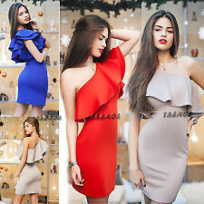 UK Womens Ruffle One Shoulder Bodycon Dress Ladies Party Midi Size 6-14