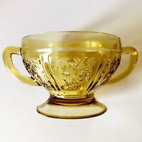 "Amber Depression Pressed Glass Open Sugar Bowl Sharon ""Cabbage Rose"" Art Deco"