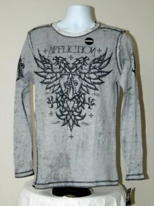 NWT AFFLICTION LIVE FAST IRONSIDE REVERSABLE THERMAL T SHIRT L/S TEAL BLK SMALL