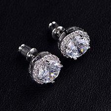 Ear Stud Earrings Jewelry Women's 18K White Gold Plated Crystal Zircon Inlaid