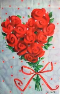 """Rose Bouquet Standard House Flag by Toland #1342 ,  24"""" x 36"""" Wedding. Love"""