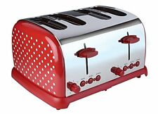 Kalorik Kitchen Originals Classic 4-Slice Polka Dot Stainless Steel Toaster, Red
