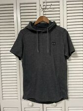 New listing Under Armour Fitted Short Sleeve Hoodie Sweatshirt Men's Large Charcoal Running