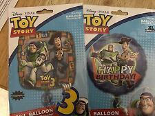 Lot of 2 TOY STORY WOODY AND BUZZ  BIRTHDAY BALLOONS 18 inch mylar NEW