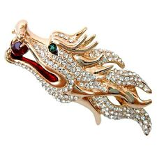 Navachi Enamel 18K GP Dragon Head White Crystal Pin Brooch BH7968