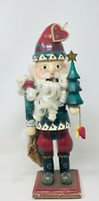 Natural Wood Nutcracker Santa With Curls Green Suit