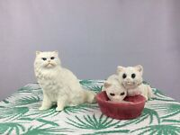 Vintage Resin White Persian Cat Figurines Original by Castagna & Stone Critters