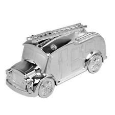 Silver Plated Fire Engine Money Box Christening Baby Piggy Bank Newborn 431