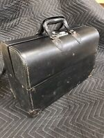 Antique Vintage Traveling Leather Doctor's Bag Old SEE PICS Bakelite? Handles