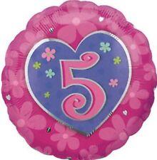 "18"" Amscan Age 5 Pink Heart Birthday Foil Helium Balloon"