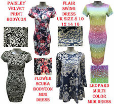 New Womens Paisley Flower Velvet Cap Long Sleeve Bodycon Mini Midi Swing Dress