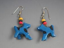 Whimsical Blue Cow Wood Dangle Drop Earrings with French Sterling Ear Wires