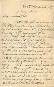 1904 East Hardwick Vermont (VT) Letter John