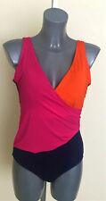 M&S Size 14 Pink Mix Colour Block Secret Slimming Wrap Swimsuit Bnwt