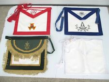 4 Freemason Officer Aprons Masonic Shriners - Red Green Blue White & Black Case