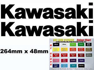 Kawasaki Fairing Swing Arm sticker decals pair of vinyl cut 264mm x 48mm