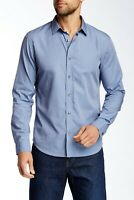 Mens Vince Solid Long Sleeve Slim Fit Button Shirt In Blue Size M Medium