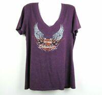 Harley Davidson Size XL Women Blouse V Neck Short Sleeve Orlando Florida Purple