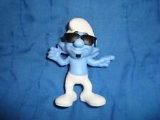 "2013 Mcdonalds Happy Meal Toy #10 Smurf Smooth wearing sun glasses 3"" tall"