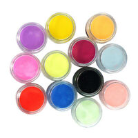 AM_ 12 Mixed Colors Acrylic Nail Art Tips UV Gel Powder Dust 3D DIY Decor Set Ne