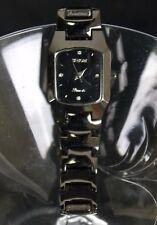 Sinobi Black Stainless Steel Women's Wrist watch 1996 3582L Rhinestone Bling