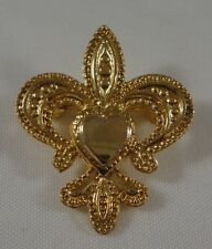 Vintage Gold Tone Fleur De Lis With Heart In Middle Brooch Pin