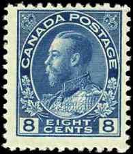 Canada #115 mint F+ OG H HR 1925 King George V 8c blue Admiral CV$20.00