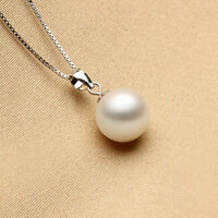 925 Sterling Silver Chic White Pearl Pendant Fashion Jewelry Xmas Gift