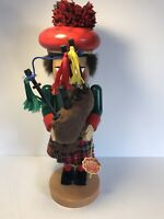 Steinbach German Wooden Scottish Nutcracker Chubby Bagpiper With Tag