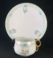 Antique Fine Bone China Delicate Pink Iridescent Teacup & Plate Set Roses