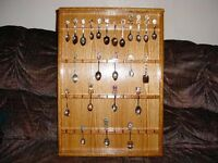 oak collector spoon display case rack holds 48 spoons