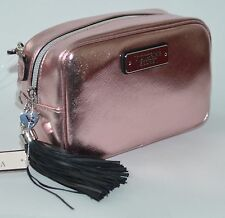 NEW VICTORIA'S SECRET METALLIC PINK CROSSBODY PURSE HANDBAG BEAUTY SHOULDER BAG