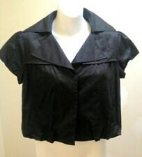 Ann Taylor M Cropped Jacket Top Black Cotton Sateen Cap Sleeve