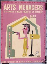 FRANCIS BERNARD AFFICHE ANCIENNE  SALON DES ARTS MENAGERS PARIS circa 1960