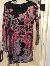 INC International Concepts Sheath Bodycon Dress Paisley Print Ruched PL Large