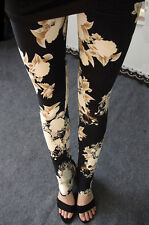 Nero & Cream Floreale Leggings Extra Soft - 8 - 12 UK, fiori, natura, elegante