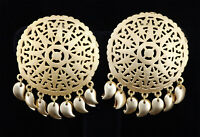 Traditional Ethnic Designer Round Stud Earring Filigree Gold Plated  2E WH 52