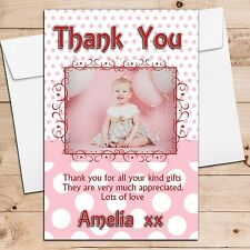 10 Personalised Girls Birthday Party Christening Thank you PHOTO Cards N57