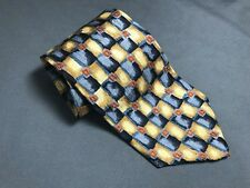 Men's Cocktail Collection Blue Yellow Checkered Silk Neck Tie