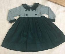 Kelly's Kids Dress Smocked Girl Kids Green Houndstooth Peter Pan Collar Size 3